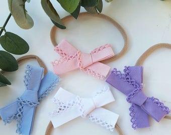 SALE - lace bow / headband / hair tie / hair clip