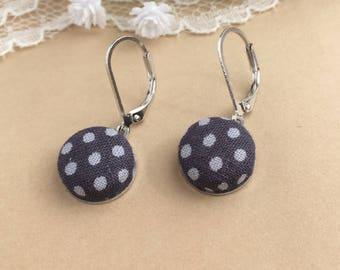 Gray Polka Dot Fabric Earrings, Polka Dots, Fabric Earrings, Lever Back Earrings, Dangle Earrings, Button Earrings, Simple Earrings