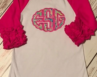Hot Pink monogram ruffle raglan shirt, ruffle raglan, girls raglan shirt