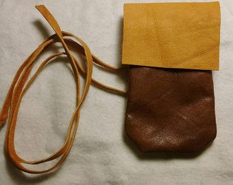 Native American Style Two Tone Leather Medicine Bag