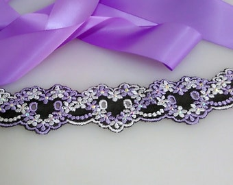 Purple lace wedding sash, Rhinestone sash, Bridal sash, Dress sash, Bridal gown sash, Satin sash, ribbon sash, Bling belt, Beaded belt