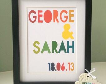 Couple Personalised Print - Anniversary / Wedding (inc p+p)