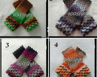 Dragon Scale Gloves/Fingerless Gloves/Dragon Gloves/Crocodile Gloves/Crochet Gloves/Crochet Mittens/Autumn Accessories/Gift/Christmas Gift