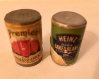 Dollhouse Food Baked Beans & Tomato Juice vintage Dollhouse Miniature Accessories