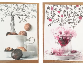 "Set van 2 kaarten: ""Coffee & Seasons"""