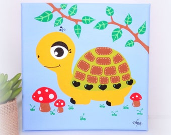 Turtle painting, nursery decor, woodland animals nursery decor, turtle painting on canvas, art for kids, squarre painting, kids wall art