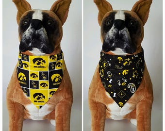 Reversible Bandana, Made With University of Iowa Fabric, Hawkeyes, Herky the Hawk, Scarf, Dog, Cat, Pet, Slip On Over The Collar, 2 in one