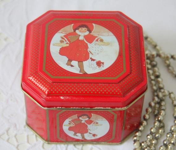 Vintage Red Tin, Sweet Child Decor, Winter Scene
