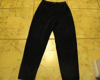 Woman's Black Leather Suede Pants by Lord & Taylor Size 6