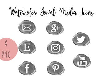 Gray and White Watercolor Social Media Icons, Transparent, Set of 8, Blog Buttons, Business Card Icons, Social Media Buttons