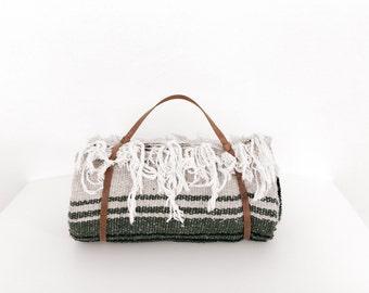 Falsa Blanket + Leather Strap / Yoga Blanket / Southwest Blanket Throw