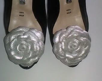Leather Shoe Clip, Flower shoe clip, Set of 2, Rose shoe clip, Shoe Clips, Silver Rose clips,  Italian handmade.
