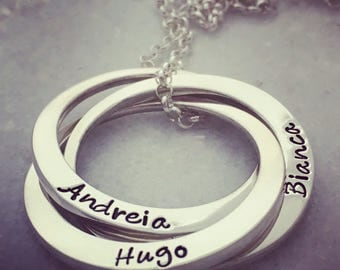 Hand Stamped Personalised Necklace - Russian Rings - Linked Loops - Sterling Silver Pendant- Joined Circles- Name Necklace - Mothers jewelry