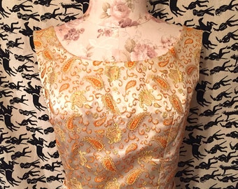 Vintage 1960s Brocade Maxi Dress Pailsey Column Maxi Dress 1960s Formal Evening Gown Metallic Gold Mod Retro Boho Holiday