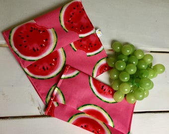 Watermelon DUO snack and sandwich bag's flap, waterproof, washable and reusable
