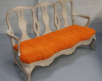 Vintage Grey Painted Rococo Style Settee