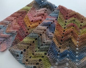 Unique handmade scarf, crochet scarf, soft pastels, ripples, variegated wool mix, pink, green, purple, grey, blue, brown