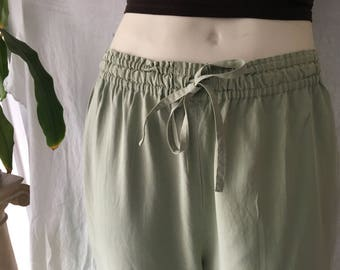 100% Silk Soft Mint Green Small Medium Large Leisure Pants Easy Drawstring Trousers