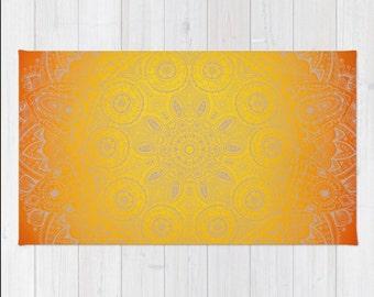 Mandala Rug Orange Yellow Sunshine  Zen Throw Woven Rectangle Rug  Modern Home Dorm Decor