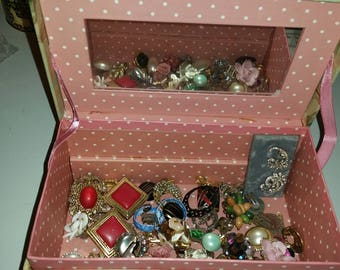 58 Pc Lot of Clip on Earrings / Lot of Jewelry / Lot of Earrings / Jewelry Box / Paris / Flowers / Floral Jewelry Box /Paris Jewelry Box/CIJ