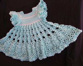 Aqua Crochet Pinafore  Size 12 months