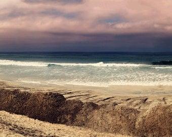 Beach photography, ocean print, Del Mar print, coastal wall art, home decor, beach decor, dreamy ocean print, fine art print, pink, purple