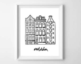Illustrated Amsterdam Houses Wall Art Print - Dutch Houses Wall Art - Black and White Decor - Amsterdam Houses Print - Dutch Houses Print