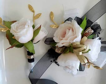 Prom Corsage Set Barely Blush Wrist Corsage and Matching Boutonniere Ready to Ship