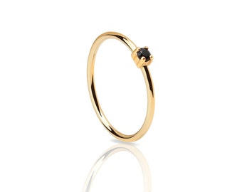 Tiny ring - dainty gold ring - black stone ring -  black stone gold ring - minimal stacking ring - classical ring - black cz ring