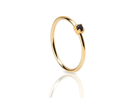 Tiny ring dainty gold ring black stone ring black stone