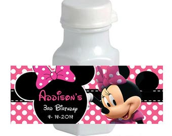 Personalized Minie Mouse Birthday Mini BUBBLE LABELS - Printable