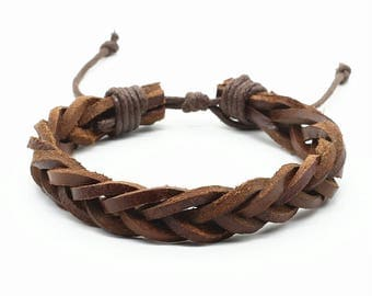 Father's Day gift, mens gift, Hand braided leather bracelet, leather bracelet, black leather, mens bracelet leather, mens leather bracelet