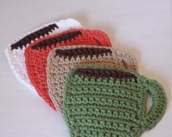 Crochet Coasters / Coffee Cup Coasters / 100% Cotton / Crochet Gifts / Cotton Gifts - Set of 4