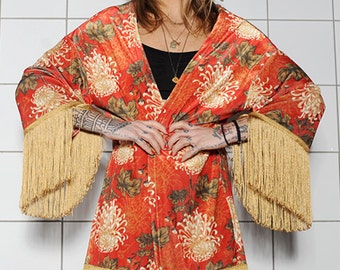 Luxurious Velvet Kimono-Red Kimono with Gold fringes-One size Kimono-Chrysanthemum Pattern Kimono-High Quality-Made in Greece-HeartbeatInk