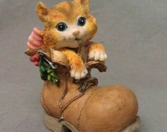 Tan and Beige Cat in Shoe-Boot