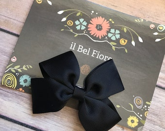 Black Bow Hair Clip, Hair Barrette, Baby Infant Child Toddler Girl Hair Clip, Hair Flower, Clip On Bow, Bow Hair Clip