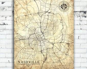 NASHVILLE TN Canvas Print Tennessee TN Vintage map Nashville Tn City Vintage map Wall Art poster Nashville Vintage retro old home gift map