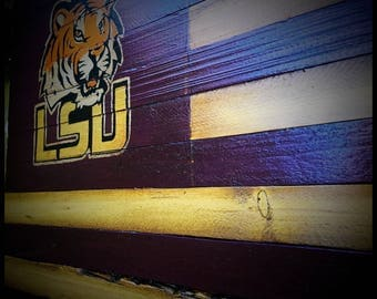Louisiana State University Tigers Flag, Rustic Wooden LSU Flag, LSU Tigers Flag, Louisiana State University Banner, LSU Alumni Flag