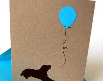 Dog Birthday Card, Happy Birthday, Balloon
