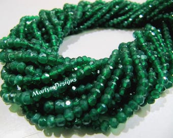 Top Quality Natural Green Onyx Beads , 3 to 4mm Size Israel Cut Onyx Beads , Strand approx 13 inch long , Rondelle Faceted Gemstone Beads