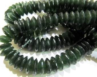 Best Quality Genuine Serpentine Faceted Gemstone Beads , German Cut Rondelle Shape Beads 9-12 mm , Strand 8 inches long , Graduated Beads.