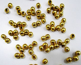 Set of 10 Pieces- Round/Rondelle Shape Metal Beads, 24 kt Gold Plated Beads, Handmade Smooth Beads Size 4mm , Wholesale Price.