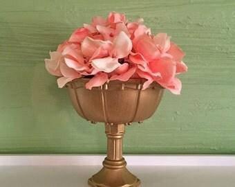 Gold Compote, Gold Vase, Gold Wedding, Centerpiece, Pedestal Vase, Vintage Wedding