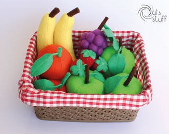 Felt fruit basket, green apple, strawberry, banana, orange and grapes
