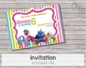 Customizable printable Trolls party invitations
