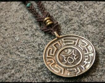 SALES!!!Madong Bronze Pendant - Ohm - Tibetan Turquoise - Spirit - Nepal - Buddhism - Zen - Tribal - Gypsy - Ethnic - Boho