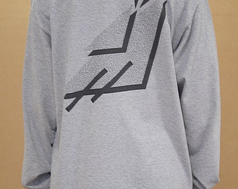 Baggy Oversized Grey Long Sleeved T-shirt With 90s Geometric Print Streetwear Front1012 Back1012