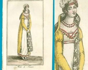 Antique 1812 star pattern pelisse fashion print Corriere delle Dame Regency gown redingote