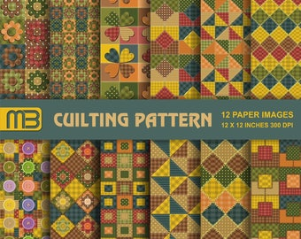 Cuilting Pattern digital paper pack - printable papers - Instant download - 12x12 inches papers - for home printing - DIY
