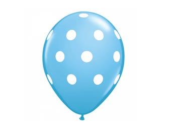 Pack of 5 Latex Balloons Blue Polka Dots, Blue Polka Dots Balloon, Blue Baby Shower Party Balloons, Blue Party Balloons, Party Balloons.